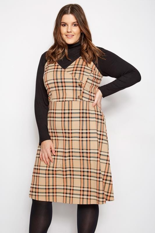Plus Size Pinafore Dresses LIMITED COLLECTION Orange & Beige Wrap Front Check Pinafore Dress