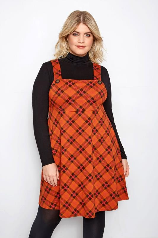 Plus Size Pinafore Dresses LIMITED COLLECTION Orange Check Pinafore Dress