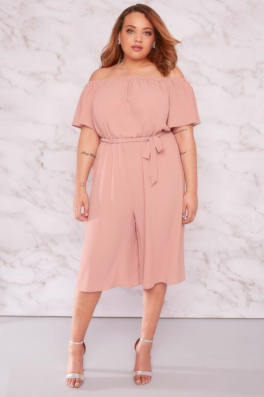 Jumpsuits LIMITED COLLECTION Pink Bardot Culotte Jumpsuit With Waist Tie 210059