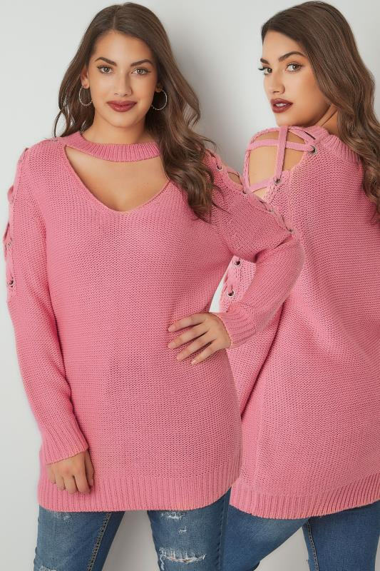 LIMITED COLLECTION Pink Choker Jumper With Lace Sleeves