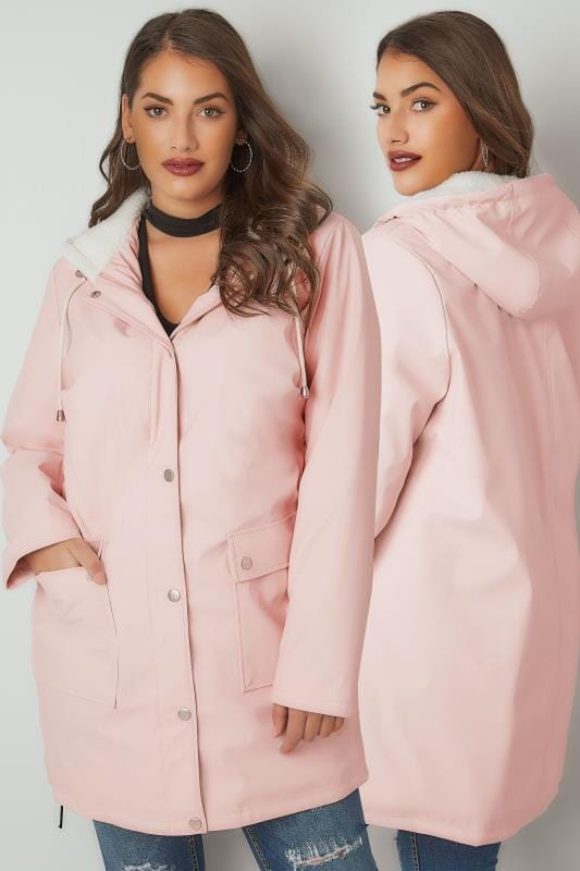 Plus Size Coats LIMITED COLLECTION Pink Coated Mac With Sherpa Lined Hood