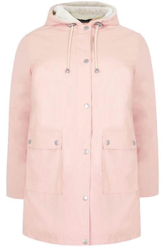 Coats LIMITED COLLECTION Pink Coated Mac With Sherpa Lined Hood 210268