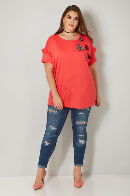 LIMITED COLLECTION Coral Embellished T-Shirt With Frill Sleeves