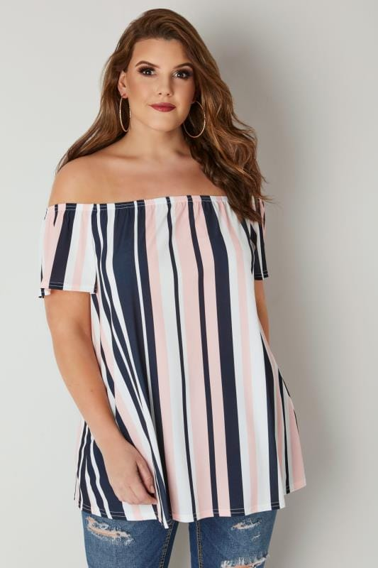 Plus Size Bardot & Cold Shoulder Tops LIMITED COLLECTION Pink, Navy & White Bardot Top