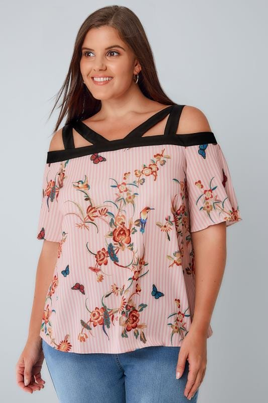 LIMITED COLLECTION Pink Stripe & Embroidery Print Strappy Bardot Top