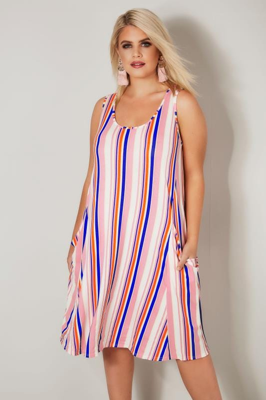 Plus Size Midi Dresses LIMITED COLLECTION Pink Striped Drape Pocket Dress