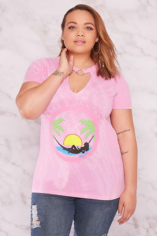 LIMITED COLLECTION Pink Tie Dye 'Lazy Girls Club' With Choker Ring Neck