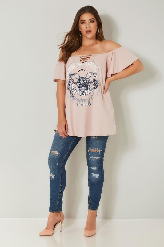 LIMITED COLLECTION - Top Bardot Rose Avec Slogan 'Vintage Motorcycles'