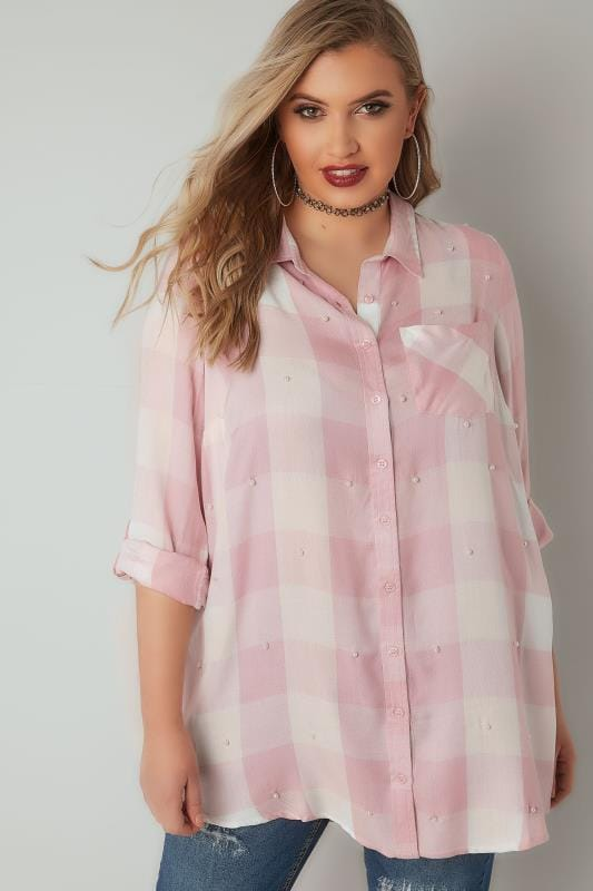 LIMITED COLLECTION Pink & White Check Shirt With Pearlescent Embellishment