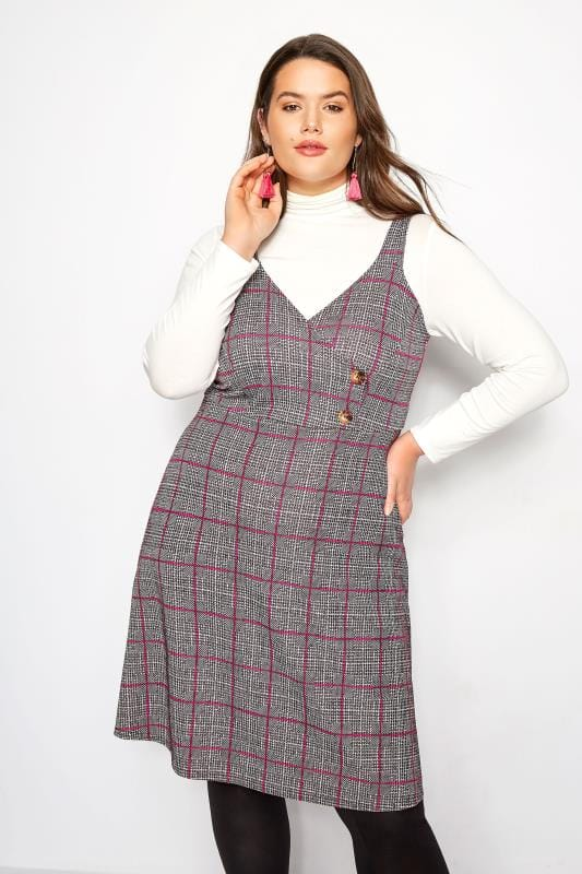 Plus Size Pinafore Dresses LIMITED COLLECTION Pink Wrap Front Check Pinafore Dress