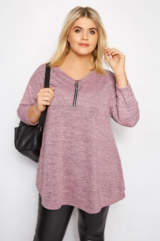 Plus Size Knitted Tops & Jumpers LIMITED COLLECTION Pink Zip Front Top