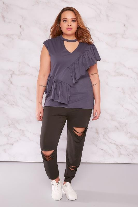 LIMITED COLLECTION Purple V-Neck Frill Top