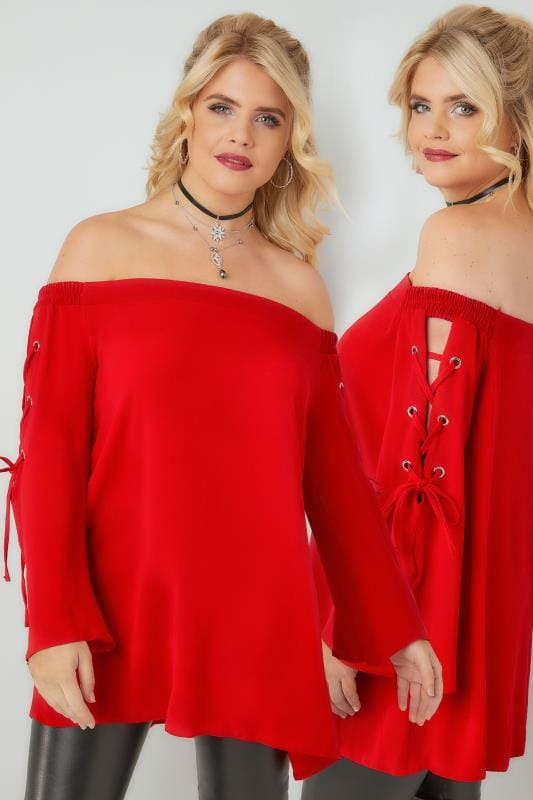 Bardot & Cold Shoulder Tops LIMITED COLLECTION Red Bardot Top With Lace Detailing 210241