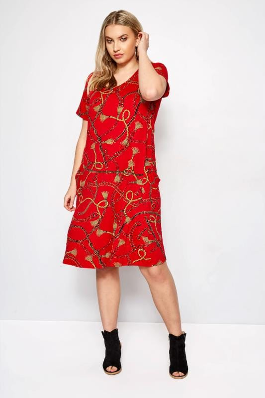 LIMITED COLLECTION Red Chain Drape Pocket Dress