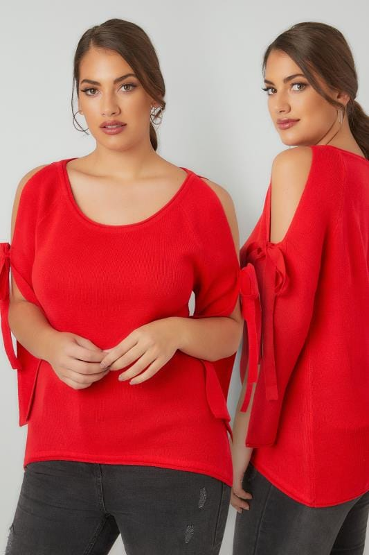Plus Size Jumpers LIMITED COLLECTION Red Dipped Hem Jumper With Open Arms & Tie Fastenings