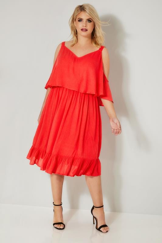 LIMITED COLLECTION Red Double Layered Cold Shoulder Dress