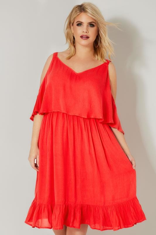 LIMITED COLLECTION Red Double Layered Cold Shoulder Dress ...