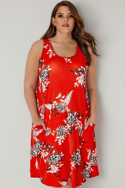 Plus Size Midi Dresses Red Floral Drape Pocket Dress