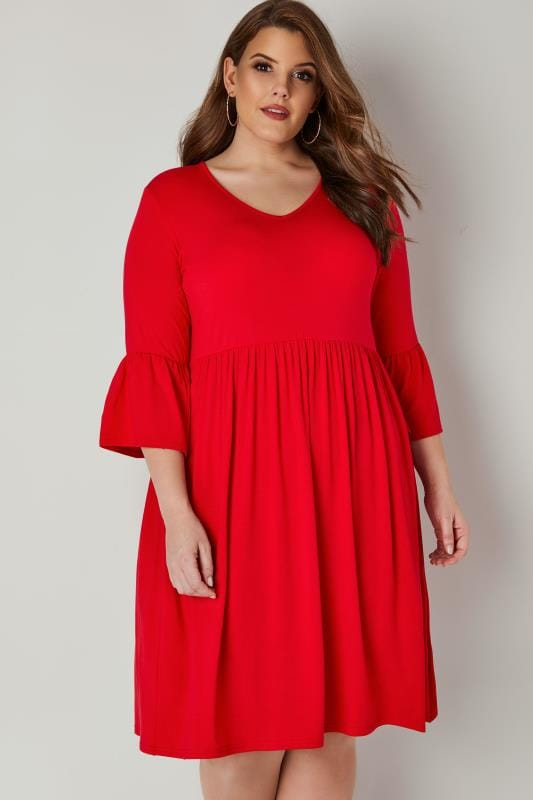 Plus Size Skater Dresses LIMITED COLLECTION Red Jersey Dress With Flute Sleeves