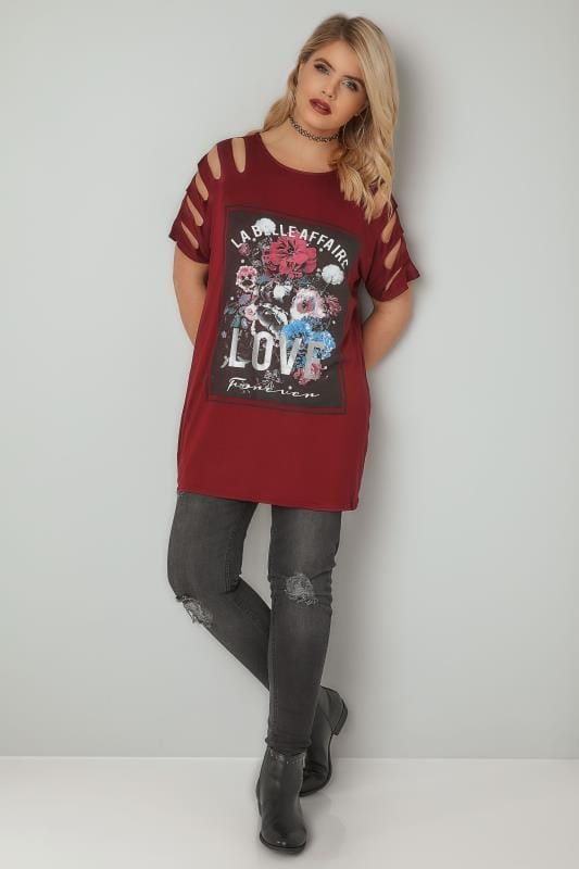 LIMITED COLLECTION Red 'LOVE' Slogan Floral Print Top With Shredded Shoulder