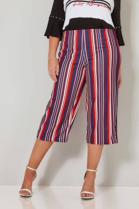 Plus Size Cropped Trousers LIMITED COLLECTION Red, White & Navy Striped Culottes