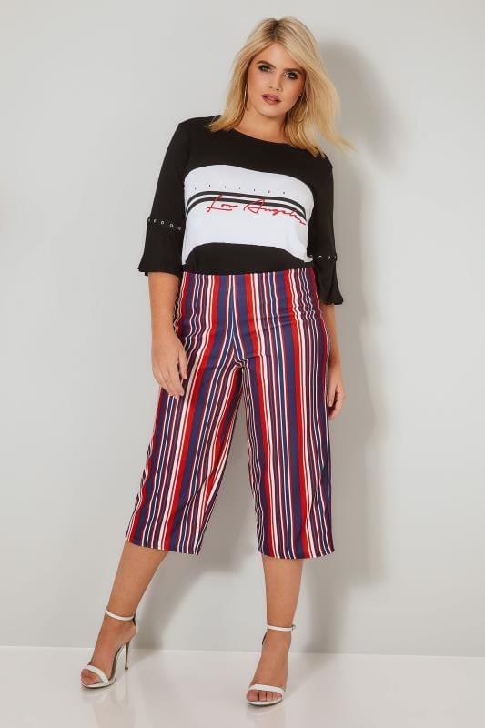 LIMITED COLLECTION Red, White & Navy Striped Culottes