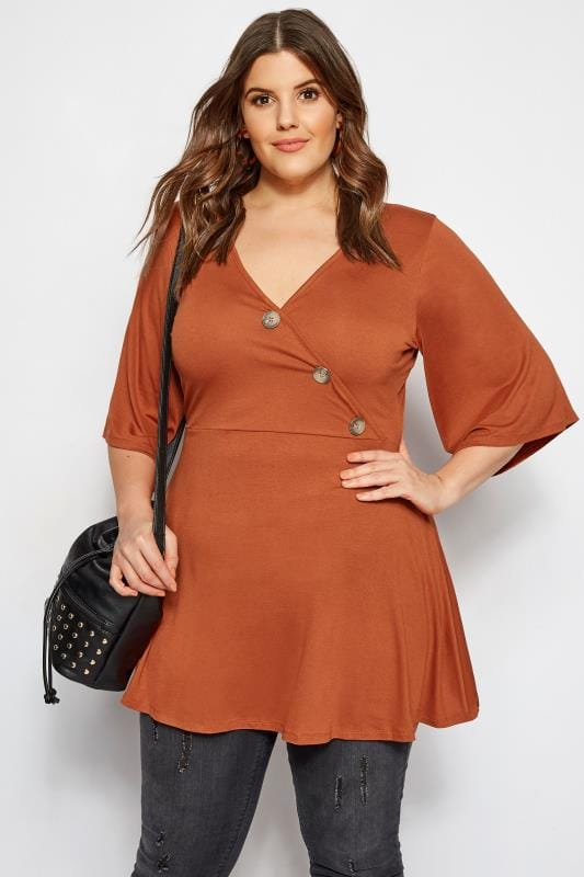 Plus Size Jersey Tops LIMITED COLLECTION Rust Button Wrap Top