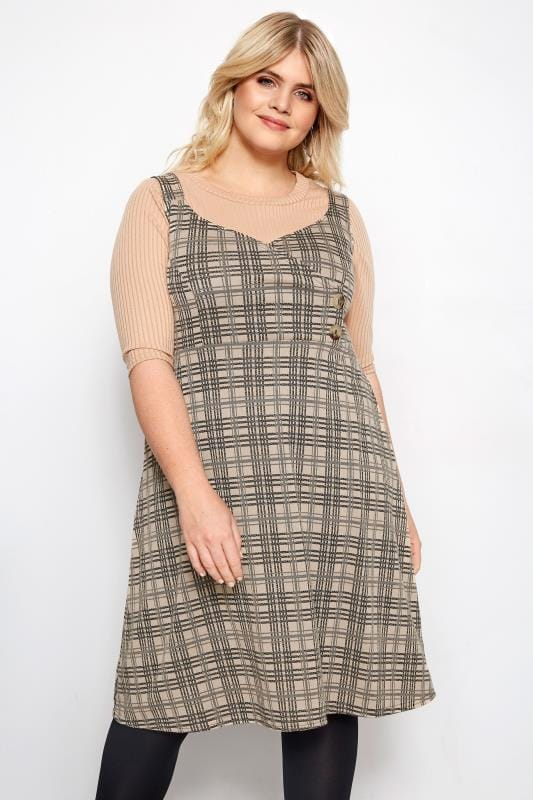 Plus Size Pinafore Dresses LIMITED COLLECTION Stone Wrap Front Check Pinafore Dress