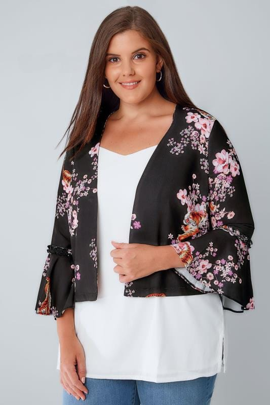 Jackets LIMITED COLLECTION Tiger & Floral Print Crop Jacket With Flute Sleeves 210049