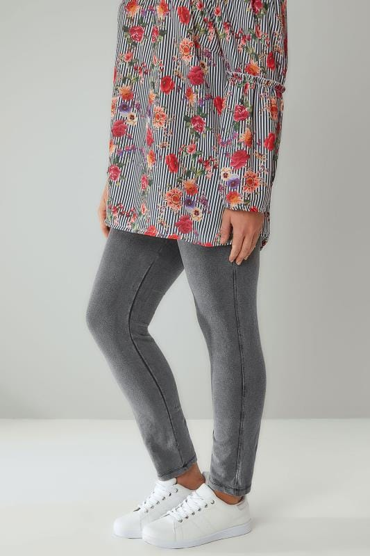 Plus Size Jeggings LIMITED COLLECTION Washed Grey Denim Pull On Jeggings