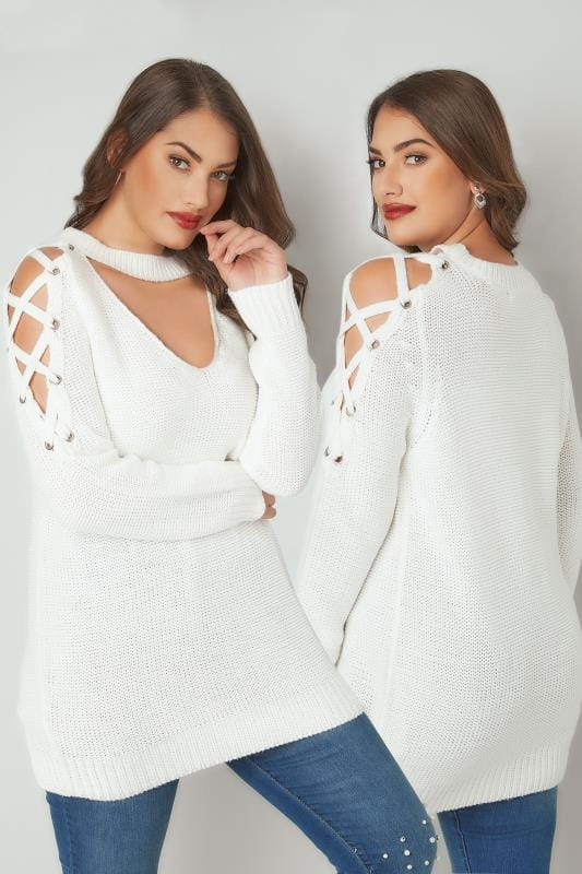 Jumpers LIMITED COLLECTION White Choker Jumper With Lace Sleeves 210315