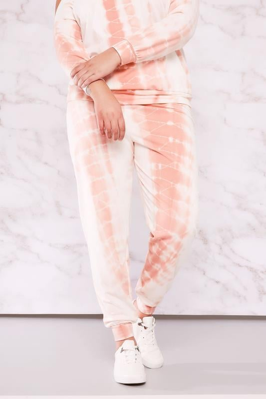 LIMITED COLLECTION White & Peach Tie Dye Joggers
