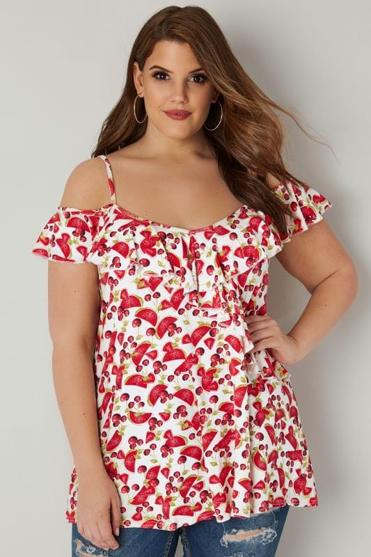 Plus Size Bardot & Cold Shoulder Tops White & Red Watermelon & Cherry Print Frilled Cold Shoulder Top