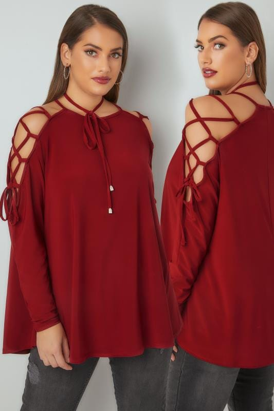 LIMITED COLLECTION Wine Choker Top With Lace Tie Sleeves