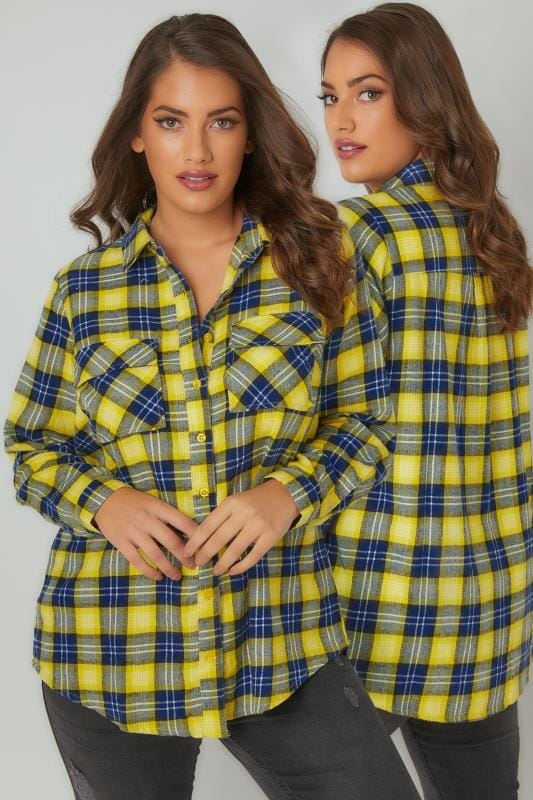 LIMITED COLLECTION Yellow Checked Brushed Shirt With Two Chest Pockets
