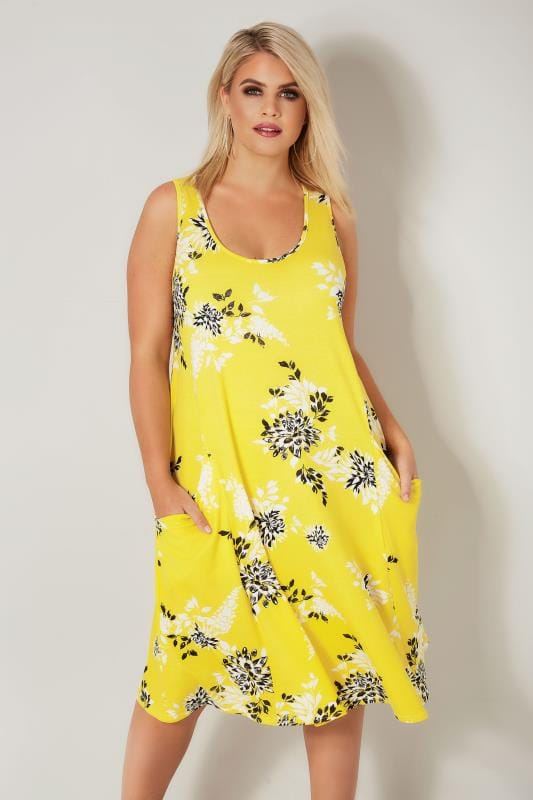 LIMITED COLLECTION Yellow Floral Drape Pocket Dress