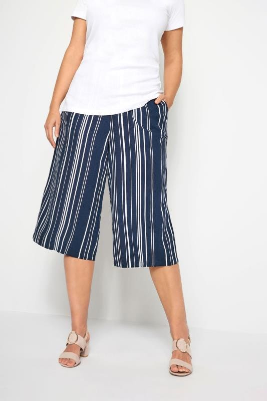 Plus Size Culottes Navy Stripe Linen Mix Culottes
