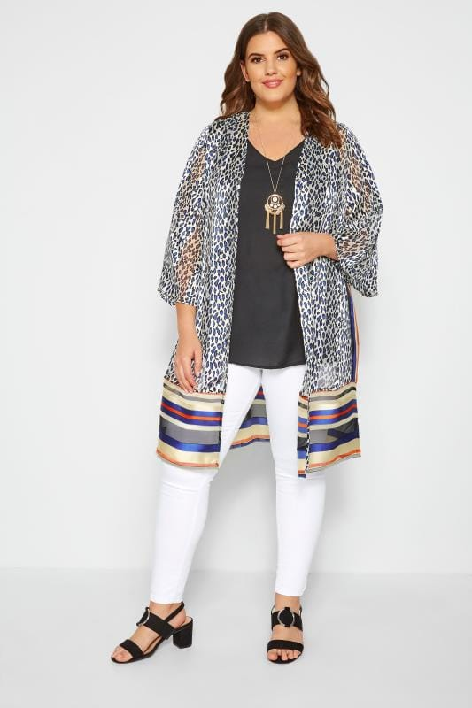 White Animal & Striped Print Kimono