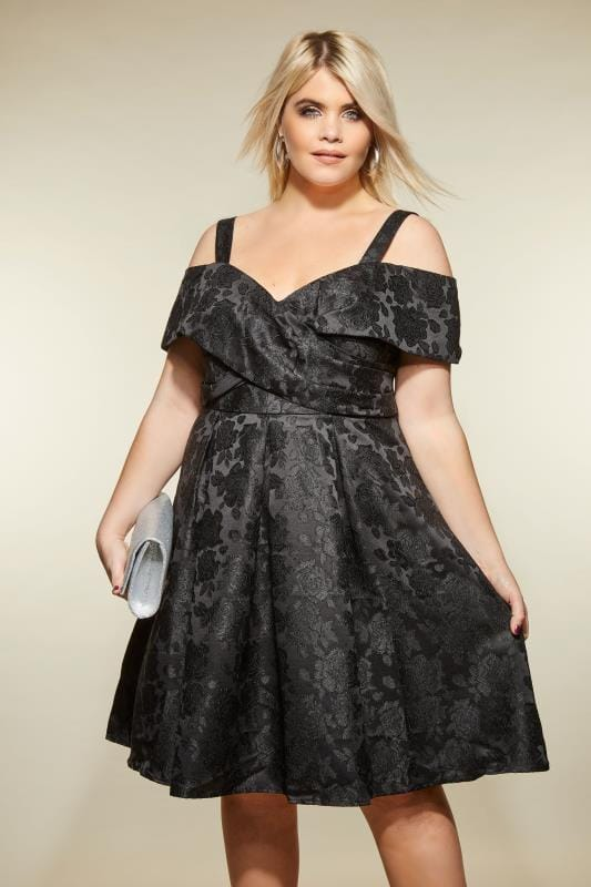 LOVEDROBE Black Bardot Jacquard Dress