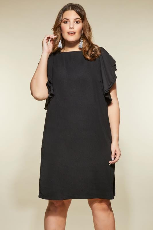 LOVEDROBE Black Dress With Ruffle Sleeves