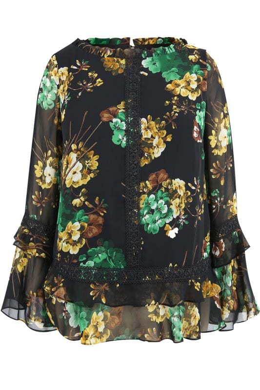 Plus Size Blouses & Shirts LOVEDROBE Black Floral Chiffon Top With Ruffle Hem