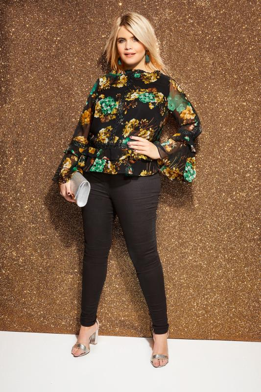LOVEDROBE Black Floral Chiffon Top With Ruffle Hem