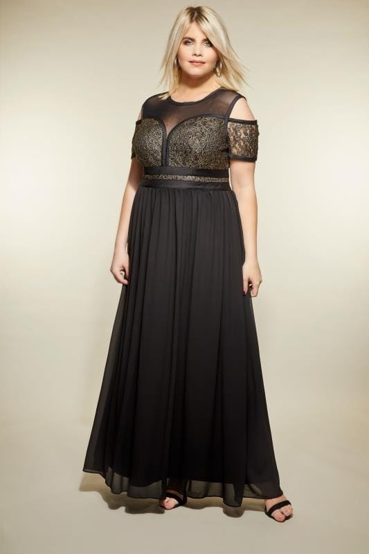 Plus Size Maxi Dresses LOVEDROBE Black & Gold Lace & Mesh Maxi Dress