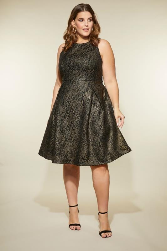 Plus Size Skater Dresses LOVEDROBE Black & Gold Lace Skater Dress
