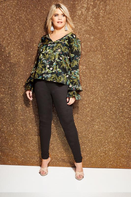 Plus Size Blouses LOVEDROBE Black Jungle Top With Ruffle Sleeves