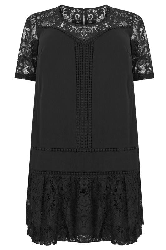 Plus Size Midi Dresses LOVEDROBE Black Lace Shift Dress
