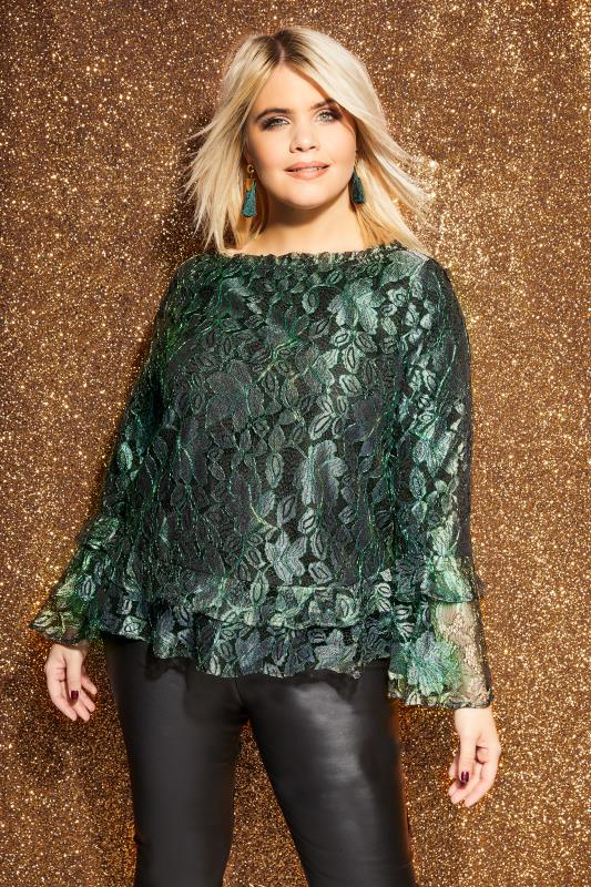 1431366f0796 LOVEDROBE Black & Green Metallic Lace Top, Plus size 16 to 32