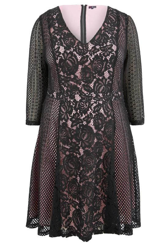 Plus Size Midi Dresses LOVEDROBE Black & Pink Floral Lace Dress