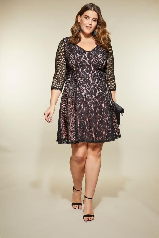 LOVEDROBE Black & Pink Floral Lace Dress