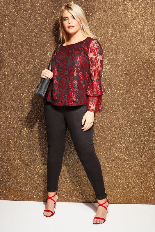 LOVEDROBE Black & Red Floral Lace Top
